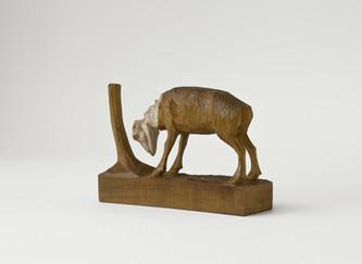 """""""Schöne geschnitzte Holzfigur, Ziegenbock, große Hörner/ ebay Nr.160617291114"""""""