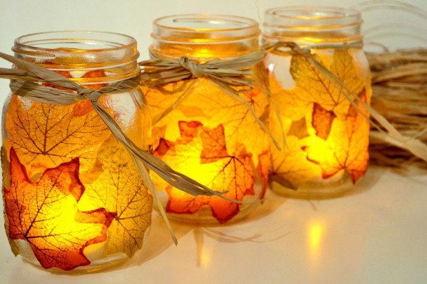 Mod Podge Leaf Candles