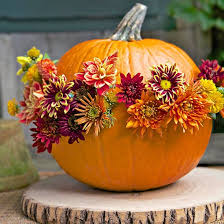 Flowers Hot-Glued on Pumpkin