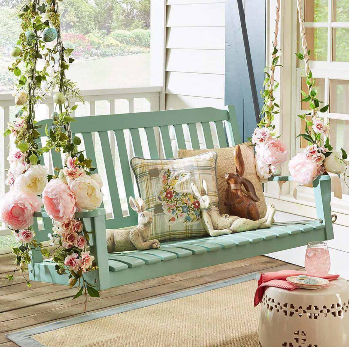Floral Embellished Porch Swing