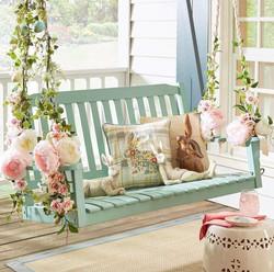Floral Embellished Porch Swing
