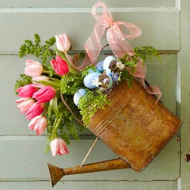 Charming Watering Can Tulips