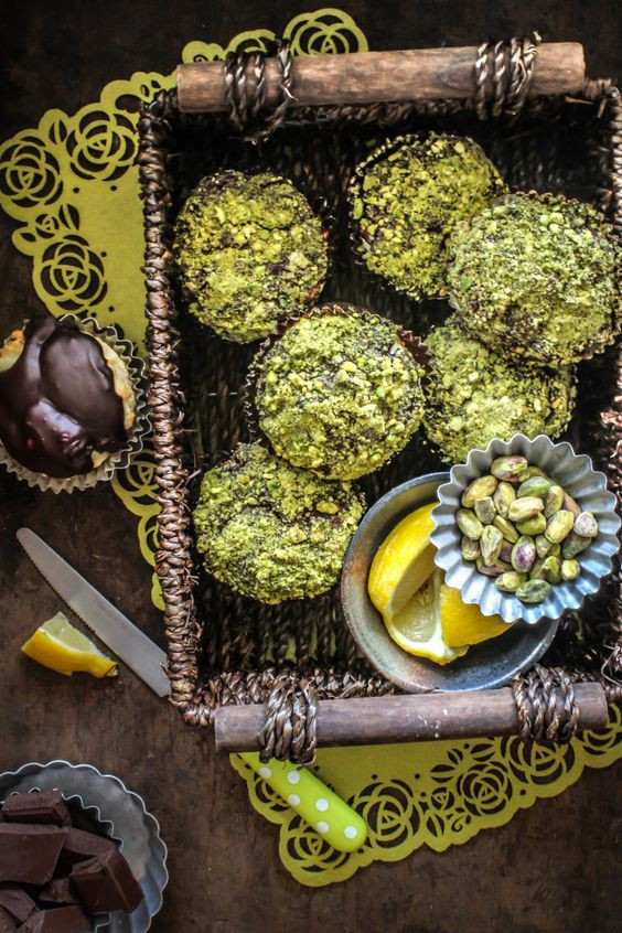 Lemon, Chocolate Pistachio Muffins