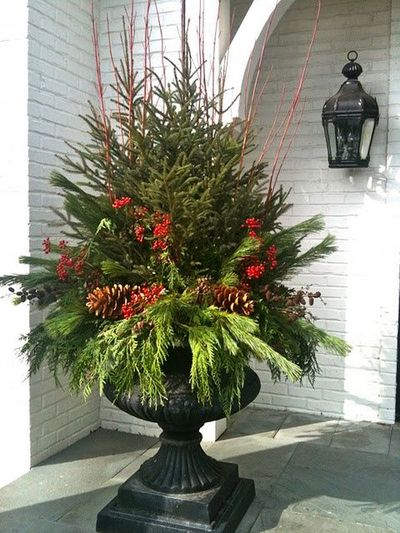 Lavish Holiday Porch Urn