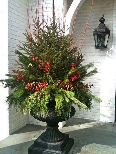 Lavish Holiday Porch Urn