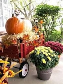 Red Wagon Fall Porch Decor