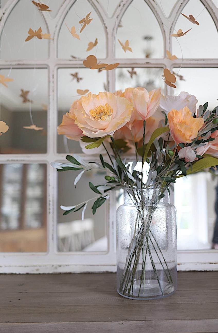 Peach Florals with Butterflies