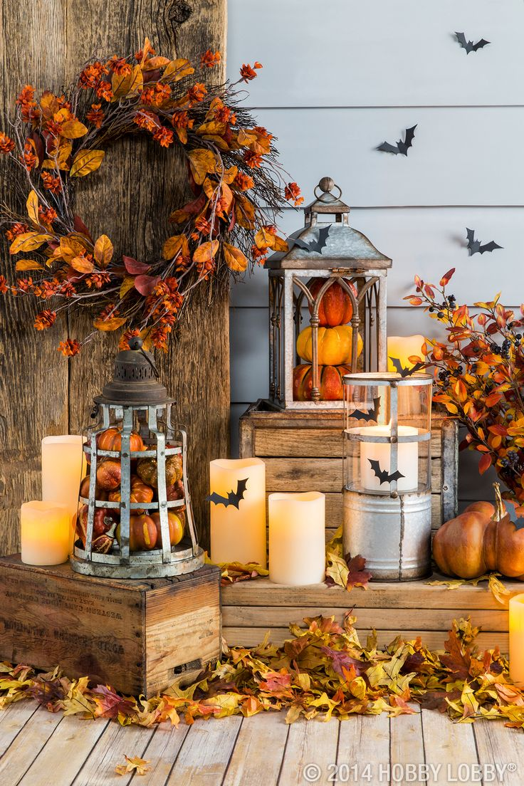 Fall Lanterns & Candles Atop Crates