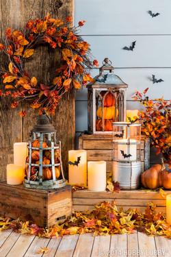 Fall Lanterns & Candles Atop Crates