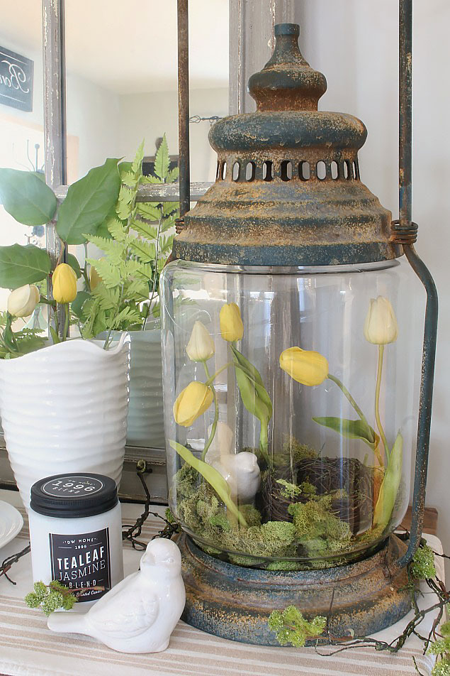 Rustic Lantern with Flowers