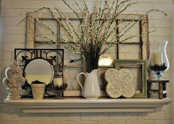 Pretty Window Pane Mantle