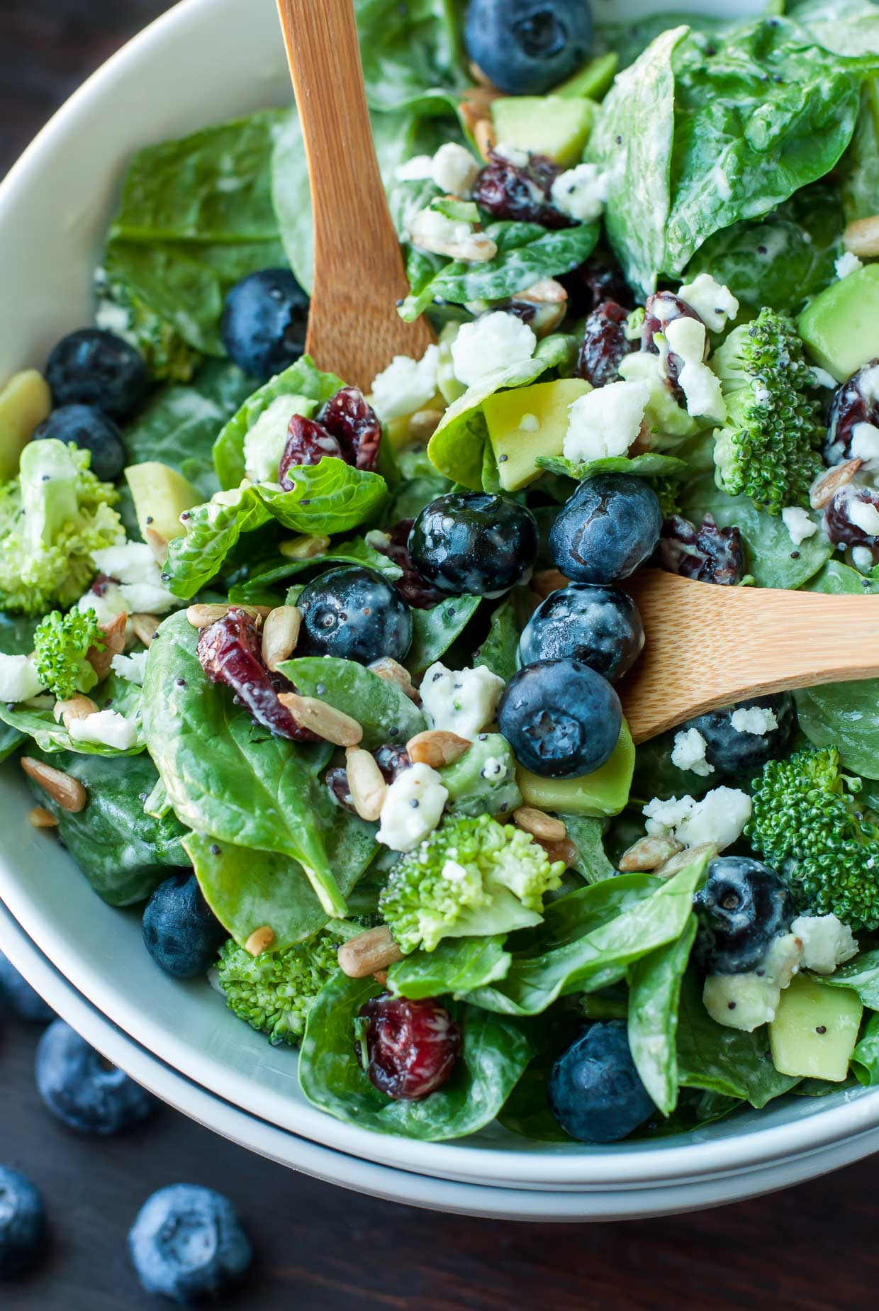 Blueberry Broccoli & Spinach Salad