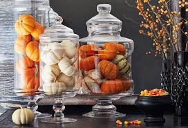 Pumpkins in Glass Decanters