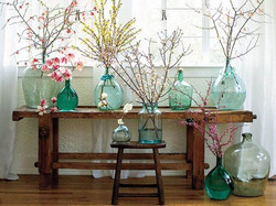 Green Glass Decanters w/Florals