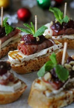 Cranberry, Brie, Prosciutto Crostini