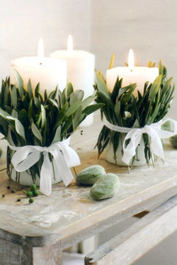 Sage Wrapped Candles