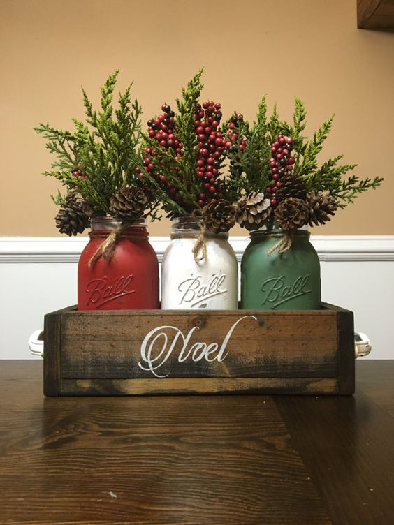 Painted Mason Jars in Crate