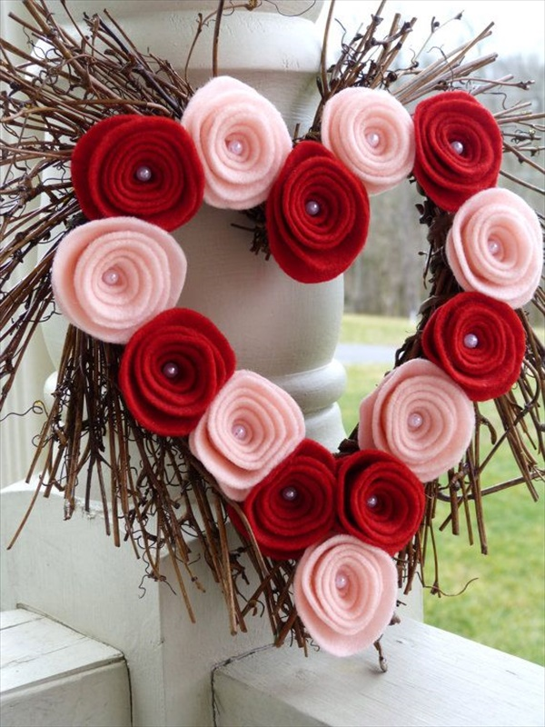 Wreath with Felt Roses