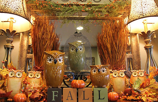 Autumn Owl Mantel