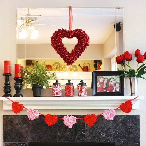 Valentine's Fireplace Mantle