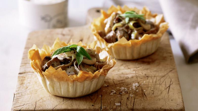 Leek & Mushroom Chicken Pies