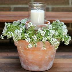 Dual Floral Planter & Candle