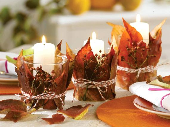 Leaf-Wrapped Candles