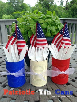 Painted Utensil Cans & Flags