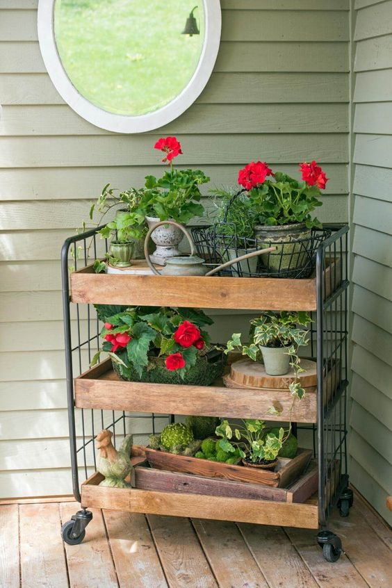 Geranium Filled Porch Cart