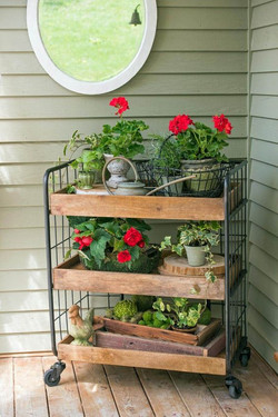 Geranium Filled Porch Cart