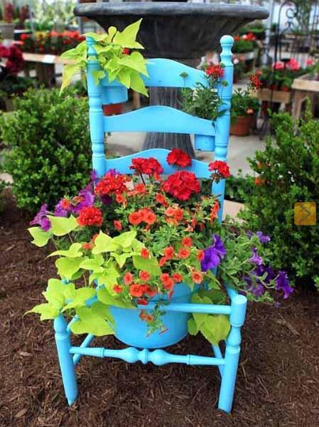 Festive Vintage Chair Planter
