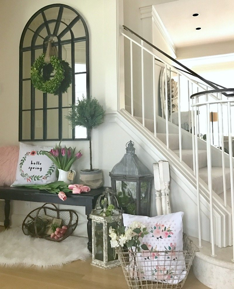 Spring Stairwell Decor