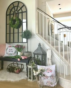 Spring Stairwell Decor