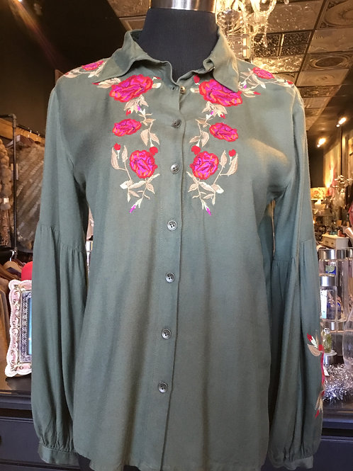 Army Green & Embroidery Love
