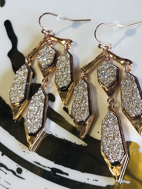 Druzy Chandelier Rose Gold Earrings