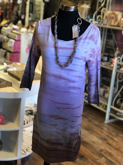 Mauve 3/4 Tie Dye Dress