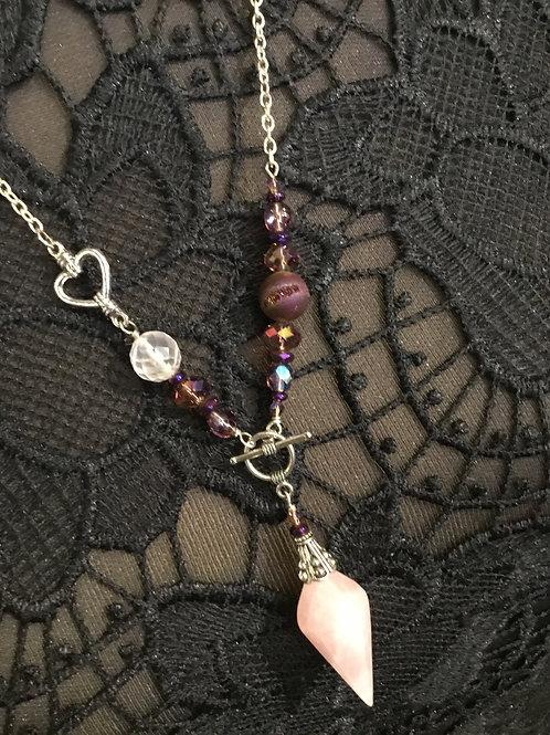 Rose Quartz Heart Charm Pendulum Necklace
