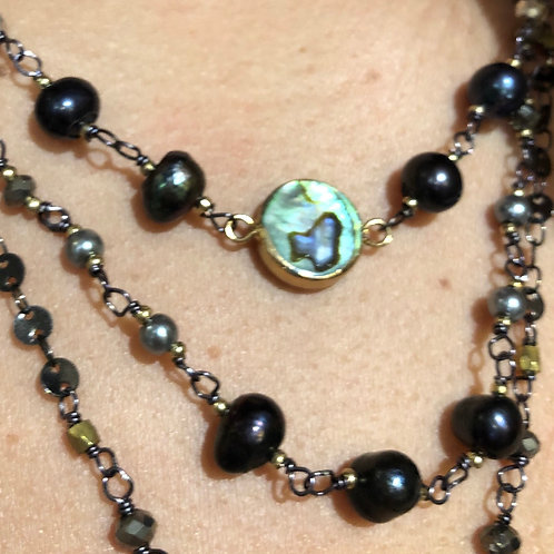 Deep Blue Pearl Layered Necklace