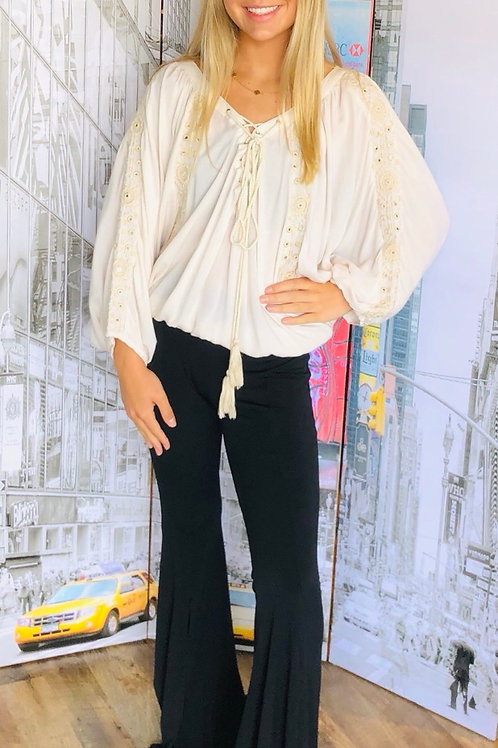Ivory Embroidered Batwing Top