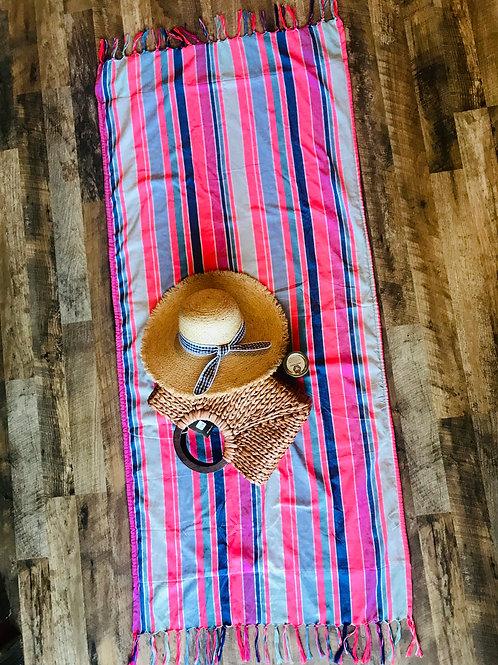 Stripe Pink Terry Cloth Beach & Festival Towel
