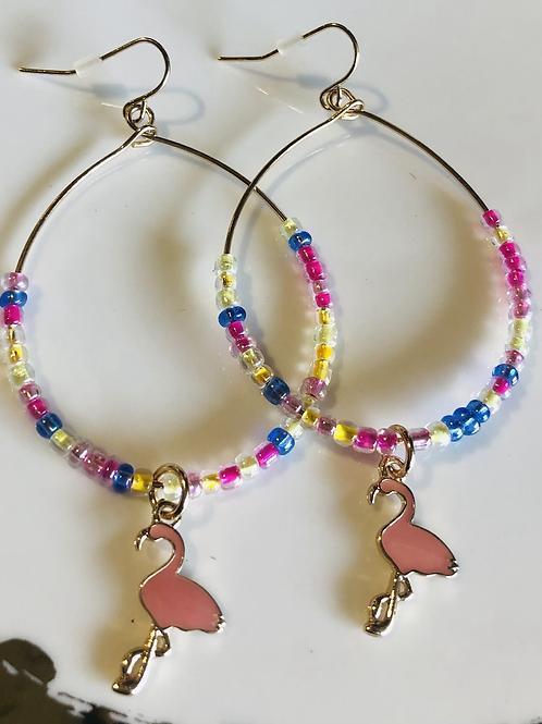 Flamingo 🦩 Drop Bead Earrings