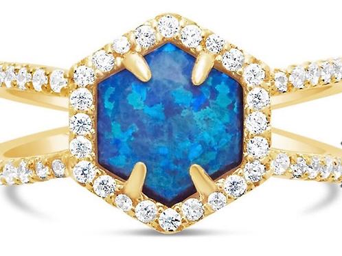 Dark Blue Hexa Opal Ring
