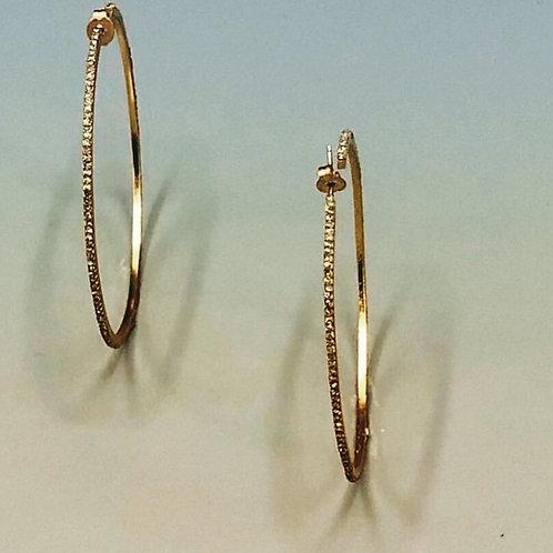18k Gold Hoop Black Diamond Earrings
