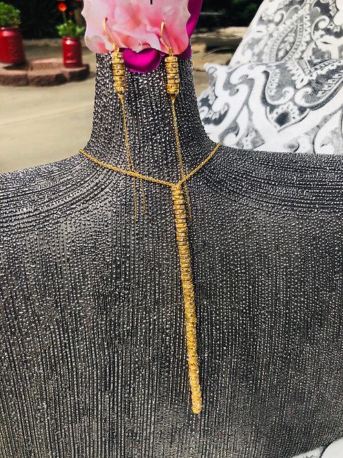 18k Gold Necklace w/ Black Diamonds