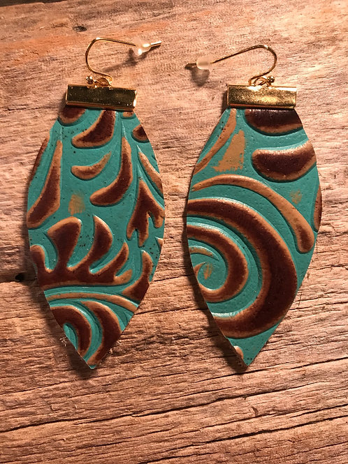 Leather Turquoise w/ Brown Earrings {Plant a Tree!}
