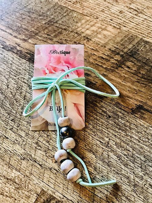 Aqua w/ White Beads Lariat Necklace/Bracelet