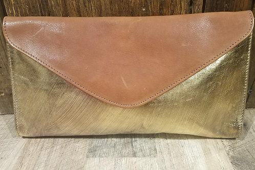 Brushed Gold Leather Clutch