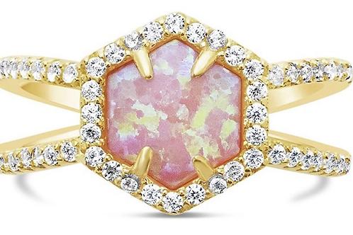 Pink Opal Hexa Ring