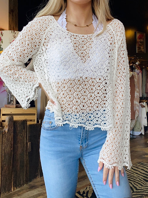White Crochet Floral Knit Wide Boat Neck Top