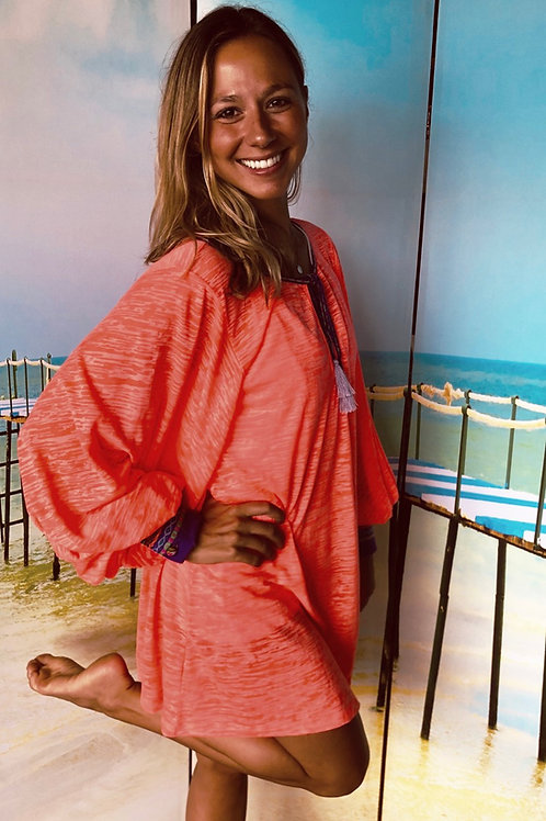 Coral Inca Cuff Sleeve Top